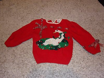 "Youth ""Yorkfair for Seiferts"" Red Long Sleeve Goose Christmas Sweater Size M"