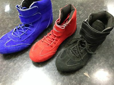 Kart Motorsport Racing Shoes Black Blue Red Mid Length Boots