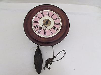 Victorian Postman's Alarm Wall Clock Stained Beechwood Black Forest Pink Enamel