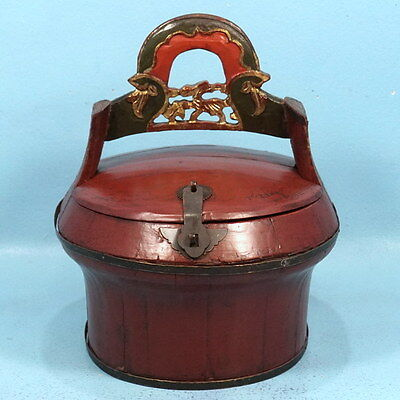 Antique Chinese Wood Carved Wedding Basket Red Lacquered Filigree c1920s