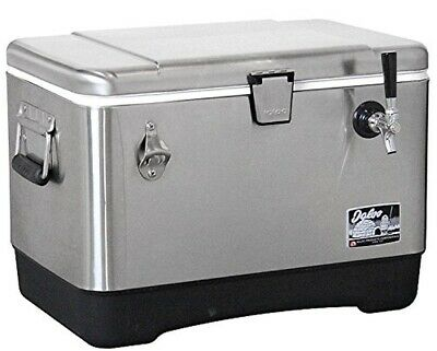 54qt Stainless Steel Single Tap Right Hand Jockey Box Cooler with 120' Coil