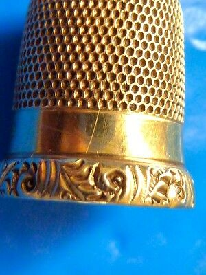 Antique Estate Jewelry 14K Yellow Gold Sewing Thimble No. 9 Antique Thimble