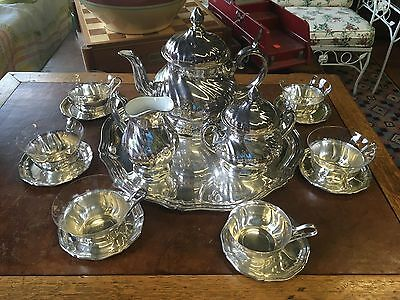 Silverplate Tea Set Great Condition Porcelain Lined 10 Piece