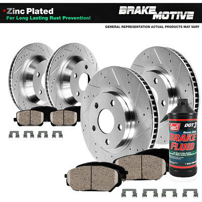 Black Hart *DRILLED /& SLOTTED* Brake Rotors FRONT+REAR KIT Ceramic Pads C1096