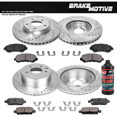 Ceramic Brake Pads Fit 2014 Nissan Rogue Front PowerSport Drilled Brake Rotors