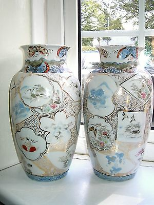 Large 32cm Antique Japanese Seto Blue & white & coloured porcelain vases C1900