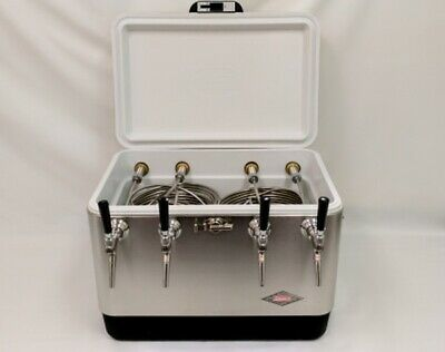 54qt Stainless Steel 4 Tap Jockey Box w/ 75' Coils, Stainless Faucets and Shanks
