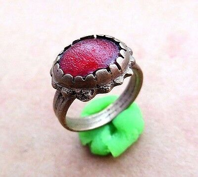 NICE ANCIENT ROMAN BRONZE RING. RED STONE- Wearable.