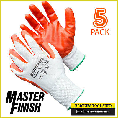 Master Finish 5 Pack Large Trade Tough Contractors Gloves Nitrile Coated