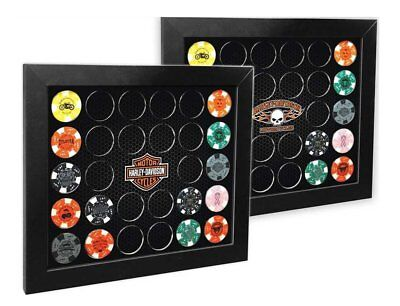 Harley-Davidson Poker Chip Collectors Frame, Holds 26 Chips, Made in USA 6925