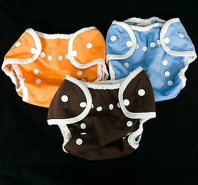 3 Thirsties Duo Wrap Covers Size 1 Snaps Brown Orange Blue Cloth Diaper Lot