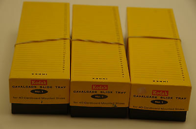 Kodak Cavalcade Slide Trays No. 1 Lot of 3 Holds 40 Slides Each
