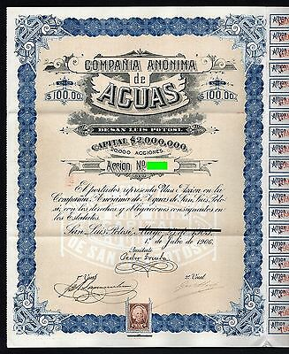 1905/1906 Mexico: Compania Anonima de Aguas de San Luis Potosi, with 99 coupons