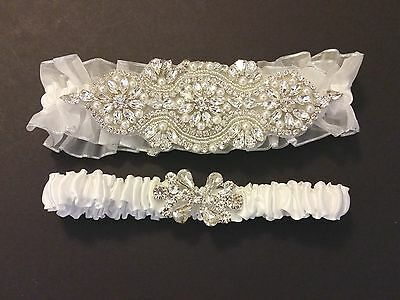 Wedding garter, Bridal Garter Set - ALMOST WHITE CRYSTAL PEARL Garter Set