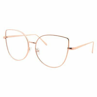 Oversized Womens Gold Clear Lens Eye Glasses Cute Cateye Butterfly Metal Frame