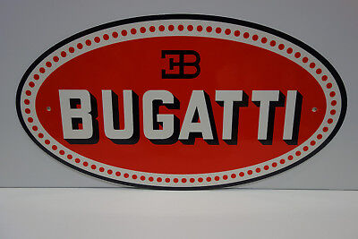 "Bugatti Sales & Service Dealership Sign. 10 7/8 ""x 20"" Very Scarce! Perfect!"