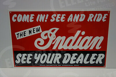 NOS INDIAN MOTORCYCLE SEE YOUR DEALER DIE CUT Rare ENAMEL SIGN. VERY NICE!