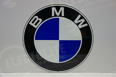 "LARGE BMW Dealer Medalian porcelain like die cut enamel coat Sign 18"" diameter"