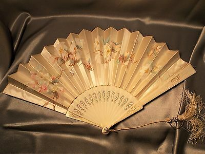 Antique Chinese Fan with Carved & Pierced Boards Butterflies & Blossoms on Silk