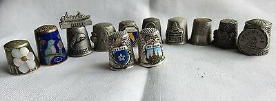 Lot Of  Collectible Pewter Brass & Silverplated Thimbles