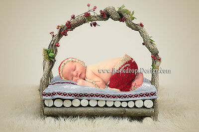 Newborn log bed photo prop baby photography prop wood bed hand made prop