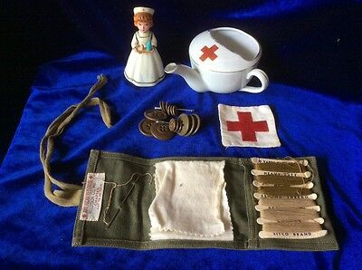 Antique Red Cross Invalid Feeder, Wwii Sewing Kit, Patch & Plastic Nurse
