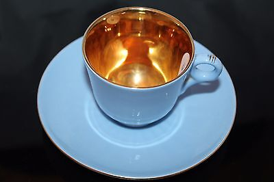 Figgjo Flint Norway Blue w/ Gold Gilt Tea Espresso Demitasse Cup & Saucer