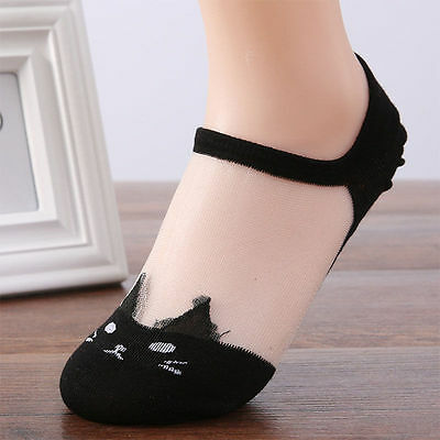 Women Summer Fashion Cat Silk Casual Ankle High Low Cut Invisible Black