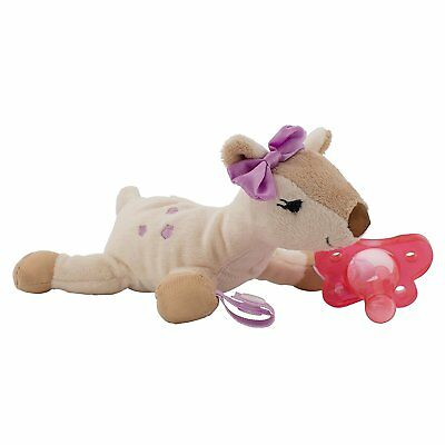 Baby Toy Pacifier Teether Holder Deer With Pink Pacifier Soft Plush Animal
