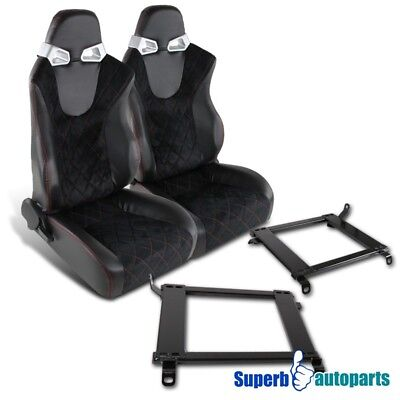 90-93 For Integra PVC Suede Cheked Red Stitching Racing Seats+Mounting Brackets