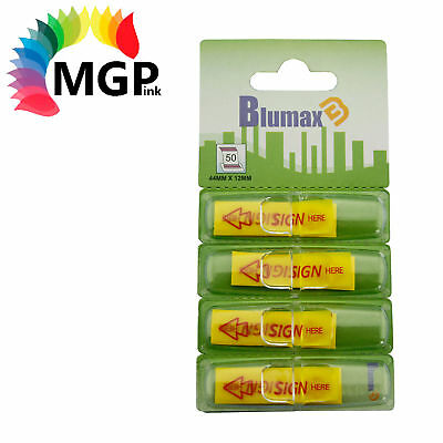 4 Blumax Mini Sign Here Flags, 4 Yellow Dispensers/Pack-25 Sheets/Dispenser