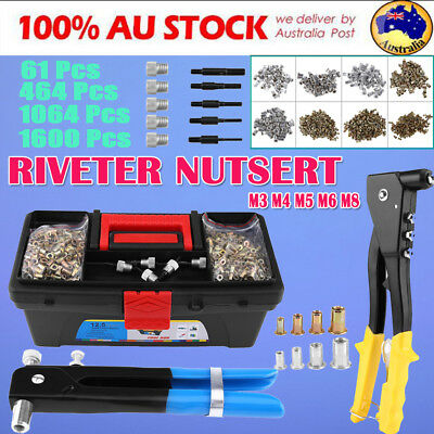61-1600Pcs Blind Rivnut Rivet Nut Nuts Gun M3 to M8 Rivnuts Nutsert Tool Kit Set