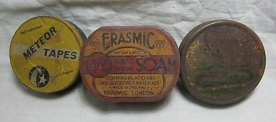Old Vintage Advertising Antique Porcelain Tin Sign Box Branded Mix Lot of 3  A1