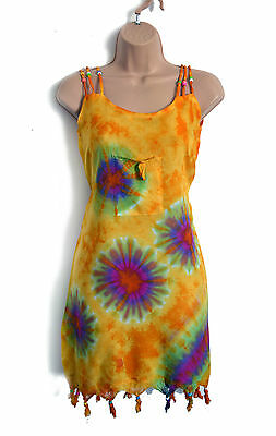 African Tie Dye Batik Ethnic Tribal Summer Beach Sun Dress, Holiday Vestito Robe