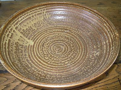 Vintage Prinknash Abbey v.large Pottery Bowl in Brown English style:34.5cm diam
