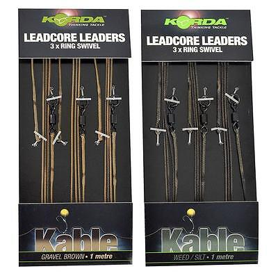 Korda Kable 50lb Leadcore Leader Ring Swivel 1m *Both Colours*