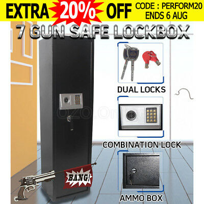7 Rifle Storage Gun Safe Heavy Duty Firearm Lock Box Electronic Steel Cabinet OZ