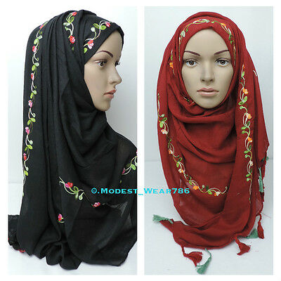 Maxi Cotton Polyester Floral Embroidery Hijab Shawl Scarf Wrap Muslim Headcover
