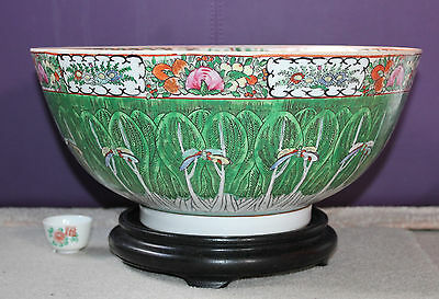 """1868-1928 Chinese Rare 14.1"""" Cantonese Famille Rose Butterfly Punch Bowl + Stand"""