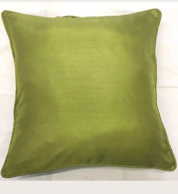 "New Green Colour Faux Silk  Piped  Double Sided  Plain Cushion Covers 16"" X 16"""