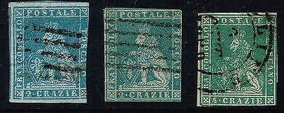 Italy States Tuscany 1851/1860 Used Lot Of 7