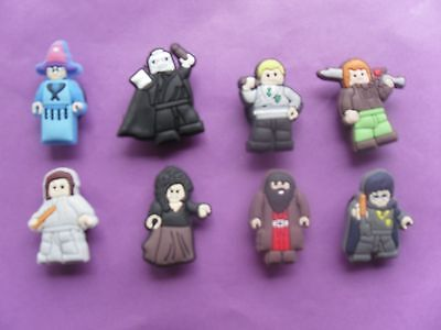 8 Harry Potter Lego jibbitz crocs wrist hair loom bands shoe charm cake toppers
