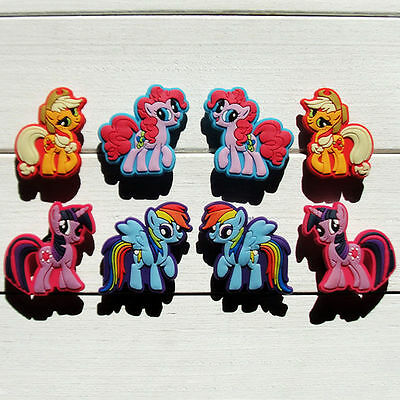 8 My Little Pony jibbitz crocs shoe charms wrist loom hair band cake toppers