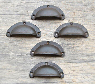 5pcs Vintage Victorian Cast Iron Cabinet drawer Bin Pull Cup handle Farm Deco 3""