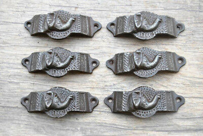 6pcs VTG Victorian Cast Iron ELEPHANT Cabinet drawer Bin Pull Cup handle Deco
