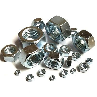 M3 M4 M5 M6 M7 M8 M10 M12 M16 M20 Hexagon Full Nuts - Bright Zinc Plated DIN 934
