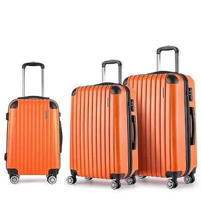 "NEW 3 Pcs Lightweight Hard Shell Travel Luggage 20"" 24"" 28"" w/ TSA Lock - Orange"
