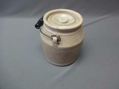 Gorgeous Stoneware Crock Butter Jam Bail Wire Wood Handle Great Patina