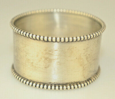 Antique Sterling Silver Napkin Ring Beaded Edge No Monogram Has Makers Mark: F