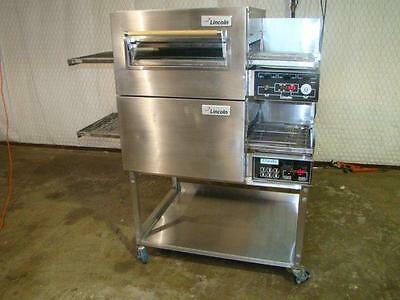 Lincoln Impinger 1116 Double Stack Nat. Gas Conveyor Pizza Ovens.....video Demo